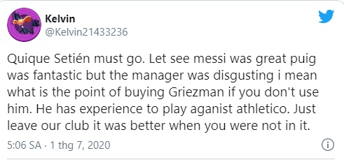 """""""He is a coward"""":These Barcelona fans turn against Quique Setien after a disappointing draw with Atletico Madrid - Bóng Đá"""